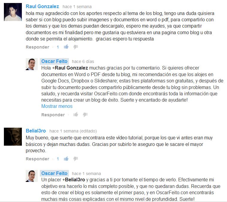 Comentarios de YouTube