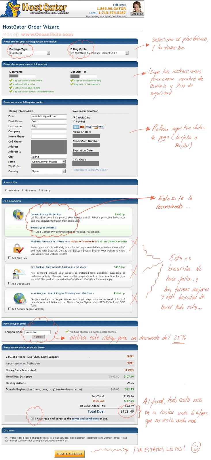 Crear Cuenta en Hostgator