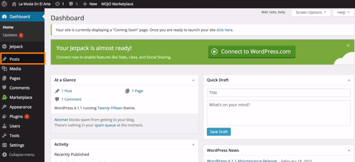 cuenta wordpress