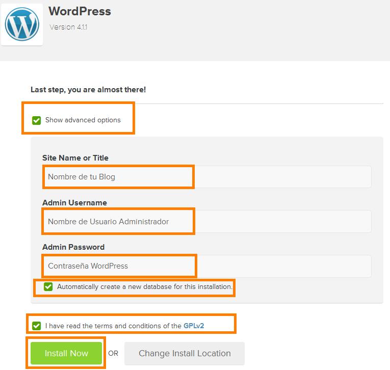 wordpress opciones avanzadas