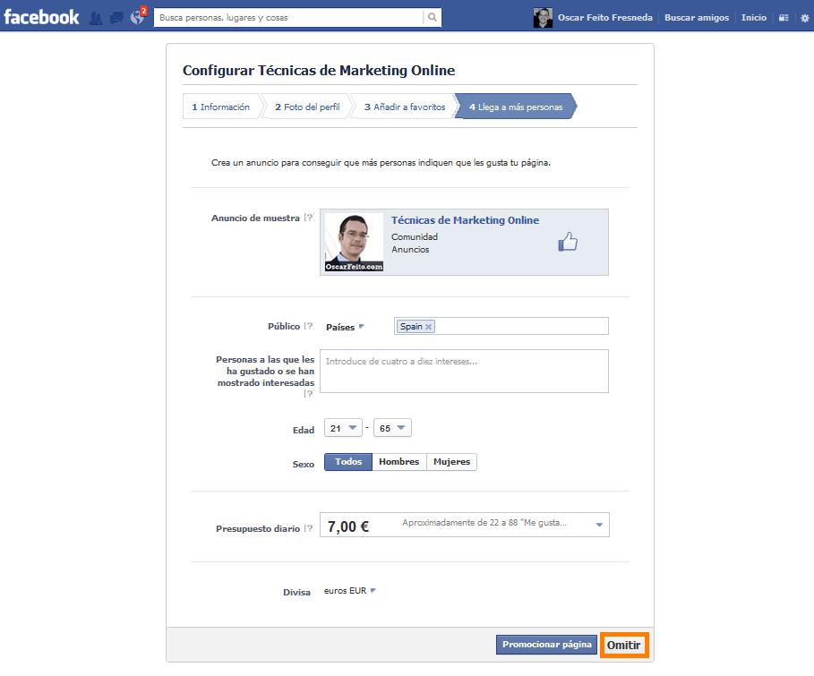 crear página en Facebook