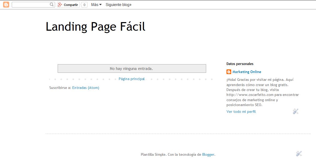 Crear Landing Page Blogspot