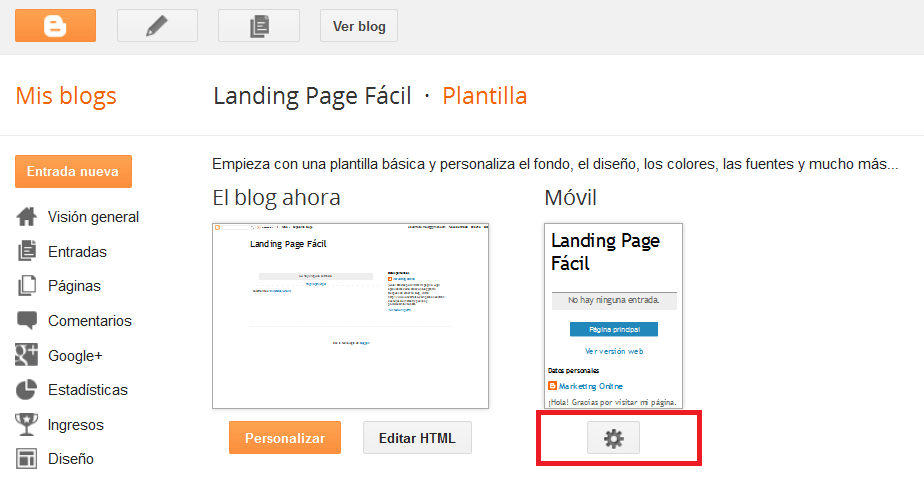 Landing Page Con Blogger