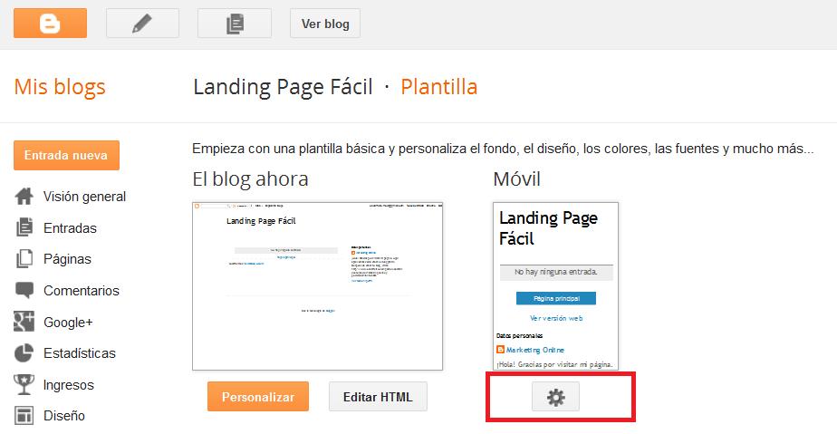 Landing Page Con Blogger